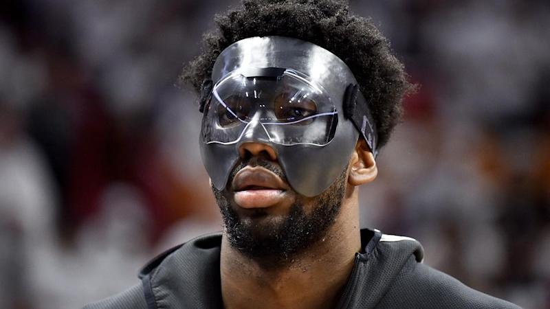 Embiid's scary new look. Pic: Getty
