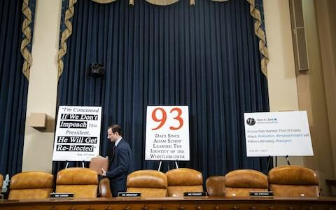 Republicans position signs behind their desk - Credit: Al Drago/Bloomberg