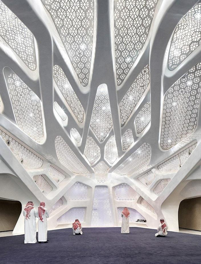 ZHA devised an organic five-building campus for KAPSARC, including an energy knowledge center, a conference center complete with a 300-seat auditorium and an exhibition hall, an energy computing center, a research library, and a musalla, a space for prayer. The complex, which was completed in 2017, was the first of the firm's projects to be awarded LEED Platinum certification.