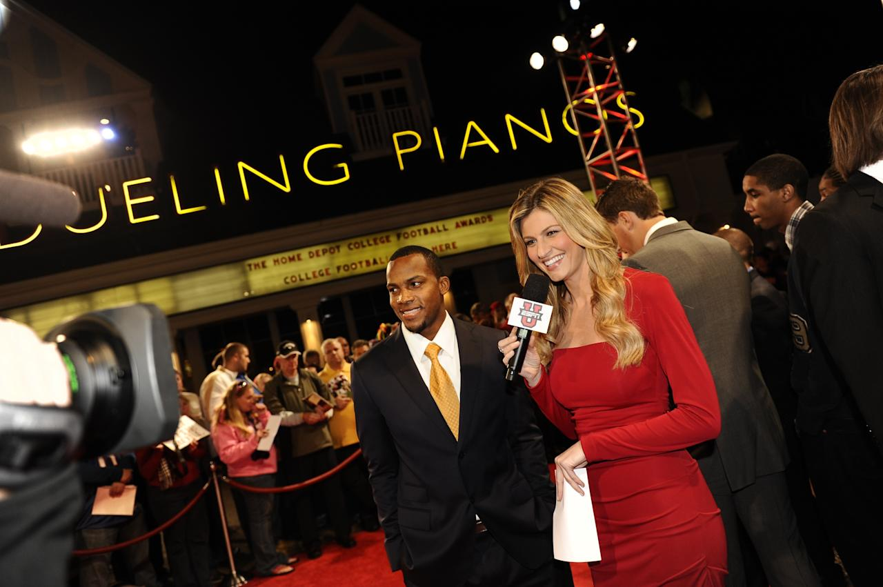 LAKE BUENA VISTA, FL - DECEMBER 8:  Oklahoma wide receiver Ryan Broyles (left) is interviewed by ESPN's Erin Andrews (right) on the red carpet of the 2011 Home Depot College Football Awards at Disney's BoardWalk Resort at Walt Disney World in Lake Buena Vista, Florida.  (Photo by Preston Mack/Disney Parks via Getty Images)