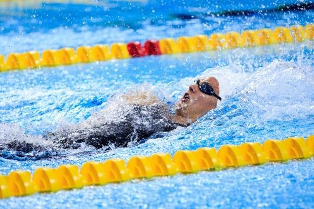 Canada's Kylie Masse posted a time of 56.52 seconds to win the women's 100-metre backstroke in the first match of the third ISL season on Friday in Naples, Italy.  (Justin Casterline/Getty Images - image credit)
