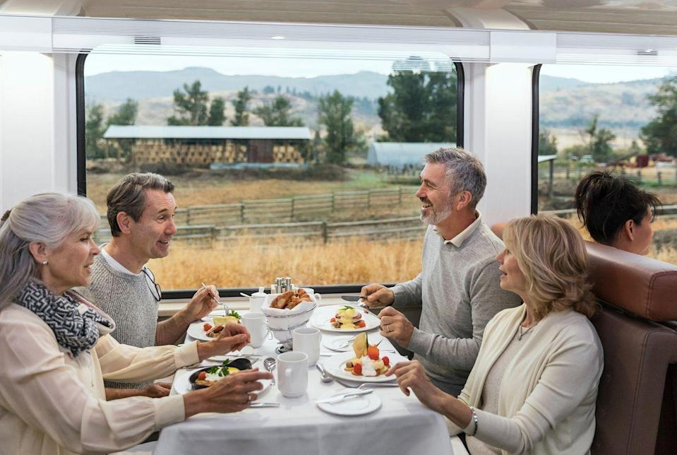 """<p>As well as the fine views and a ride of a lifetime, gourmands can experience top-notch dining onboard the <a href=""""https://www.goodhousekeepingholidays.com/tours/canada-rocky-mountaineer"""" rel=""""nofollow noopener"""" target=""""_blank"""" data-ylk=""""slk:Rocky Mountaineer train"""" class=""""link rapid-noclick-resp"""">Rocky Mountaineer train</a>, with hot breakfasts and lunches prepared, as well as Canadian tipples, from local wine to beer. </p><p>Lunches are a three-course affair and you'll sample food inspired by Western Canada's rich culinary culture and locally sourced ingredients: think fresh salmon from the Pacific Northwest Coast, farm-fresh, seasonal greens from local markets, washed down with the Rocky Mountaineer's own British Columbian wines. Divine!</p>"""