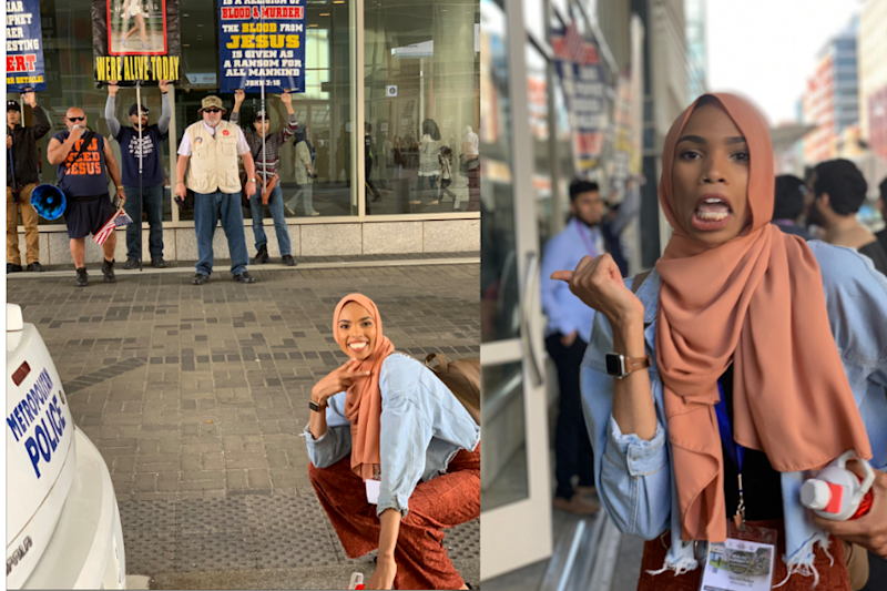 Photo of Muslim Woman 'Posing' Against Anti-Islam Protests is Going Viral