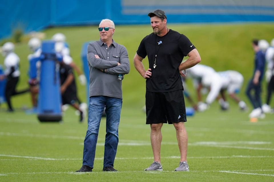 Detroit Lions President and CEO Rod Wood, left, and head coach Dan Campbell watch during NFL football practice in Allen Park, Mich., Thursday, June 3, 2021.