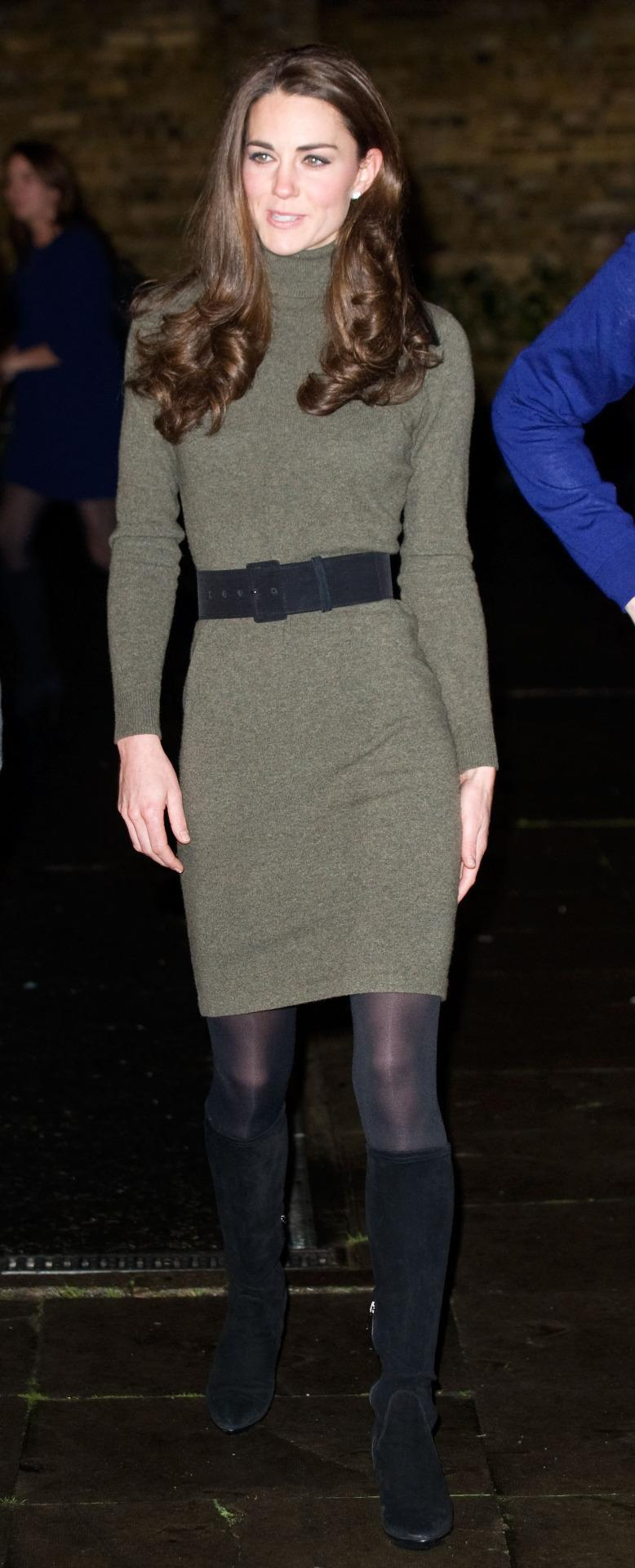 <p>Kate donned an olive Ralph Lauren knitted dress for a charity engagement. She accessorised with a black belt and Aquatalia heeled boots.</p><p><i>[Photo: PA]</i></p>