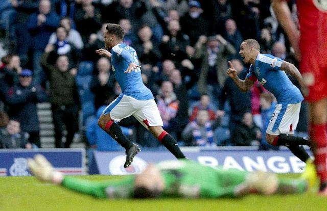 Football Soccer - Rangers v St Mirren - Ladbrokes Scottish Championship - Ibrox - 27/2/16 Rangers' Harry Forrester (L) celebrates scoring their first goal against St Mirren with James Tavernier (R) Mandatory Credit: Action Images / Graham Stuart Livepic EDITORIAL USE ONLY.