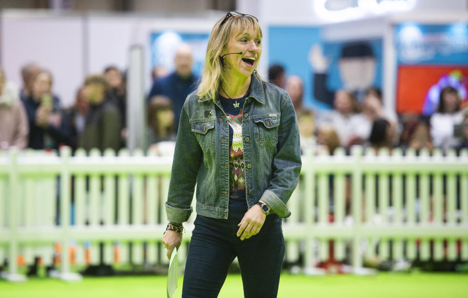 BIRMINGHAM, ENGLAND - NOVEMBER 02: TV presenter Michaela Strachan presents SuperDogs showcase at the National Pet Show 2019 at National Exhibition Centre (NEC) on November 02, 2019 in Birmingham, England. (Photo by Katja Ogrin/Getty Images)