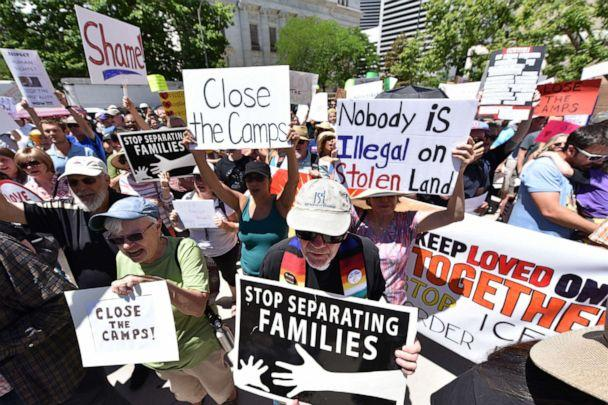 PHOTO: Protestors demonstrate in front of the Byron G Rogers Federal building on July 2, 2019 in Denver, Colorado. (Tom Cooper/Getty Images)