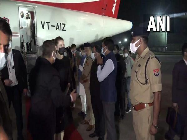 Danish Prime Minister Mette Frederiksen arrived at Agra airport on late Saturday (Photo/ANI)