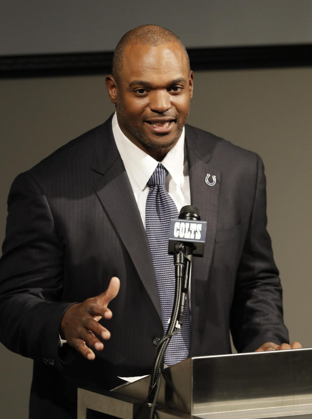 Former Indianapolis Colts player Dwight Freeney speaks during a news conference at the NFL team's practice facility, Monday, April 23, 2018, in Indianapolis. Freeney retired as an Indianapolis Colt after 16 years in the league. (AP Photo/Darron Cummings)