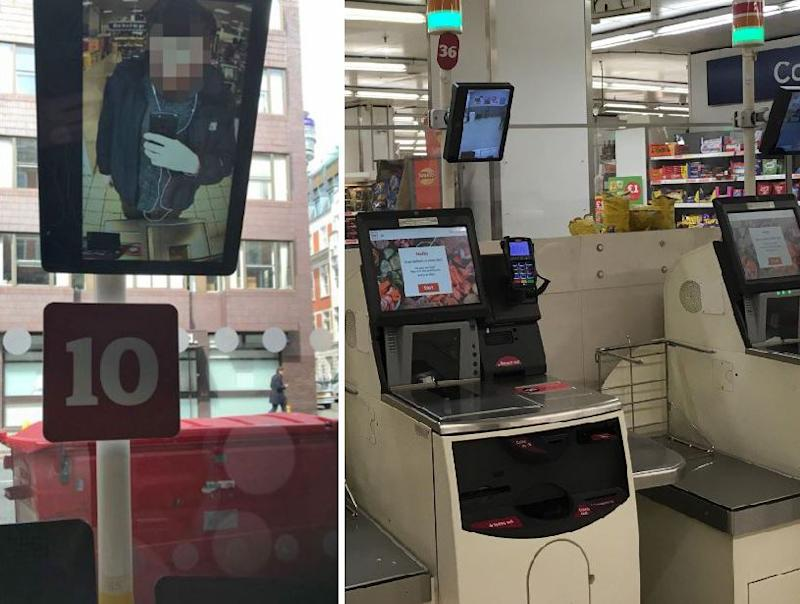 It is understood the customer-facing screens were installed to act as a deterrent to theft: Twitter/The Independent