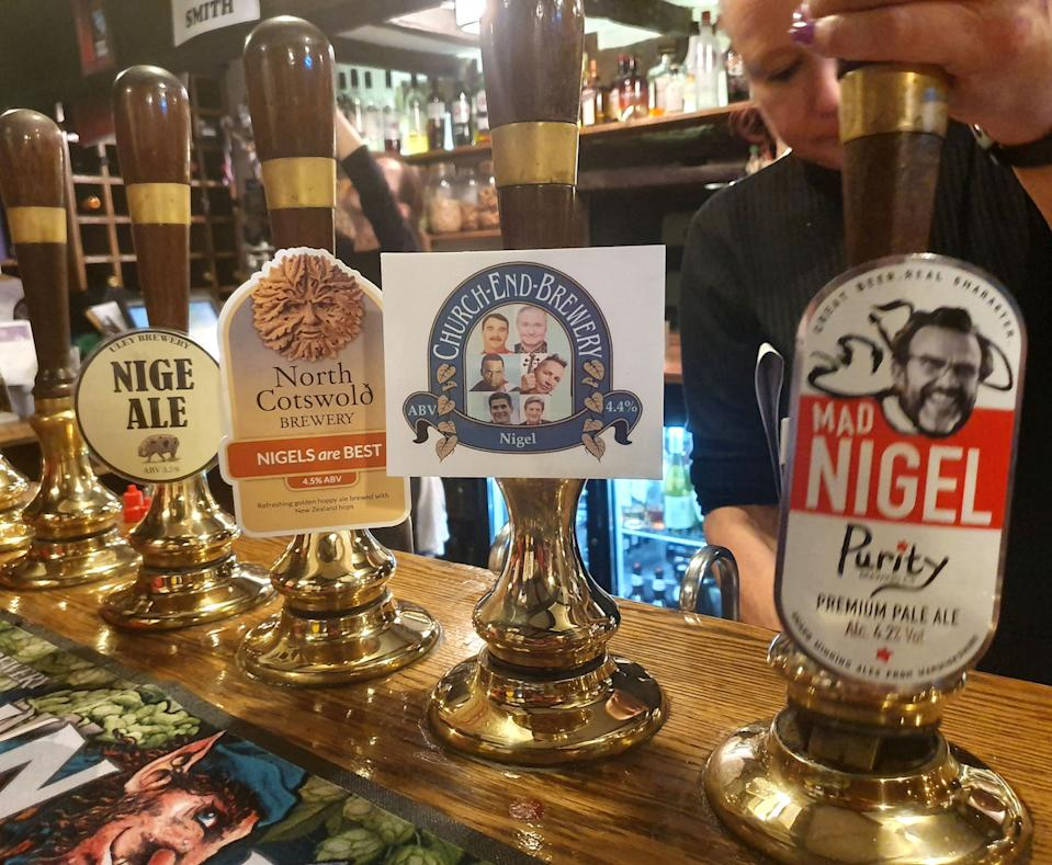 Nigel-themed beers were on tap (Picture: PA)