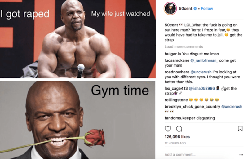 50 Cent's post where he mocked Terry Crews (Instagram/screengrab)