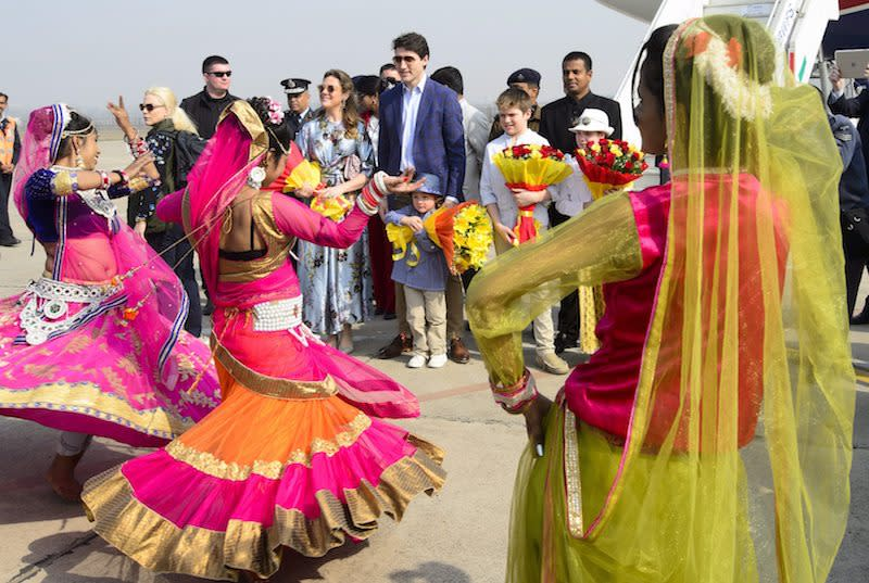 <p>Prime Minister Justin Trudeau, wife Sophie Gregoire Trudeau, and children, Xavier, 10, Ella-Grace, 9, and Hadrien, 3 watch dancers as they arrive in Agra, India on Sunday, Feb. 18, 2018. Photo from The Canadian Press. </p>