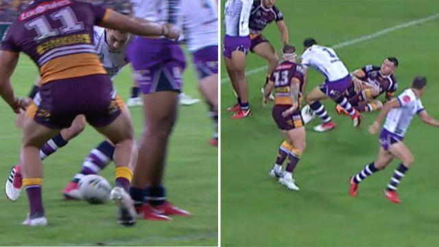 The controversial drop. Image: Fox Sports