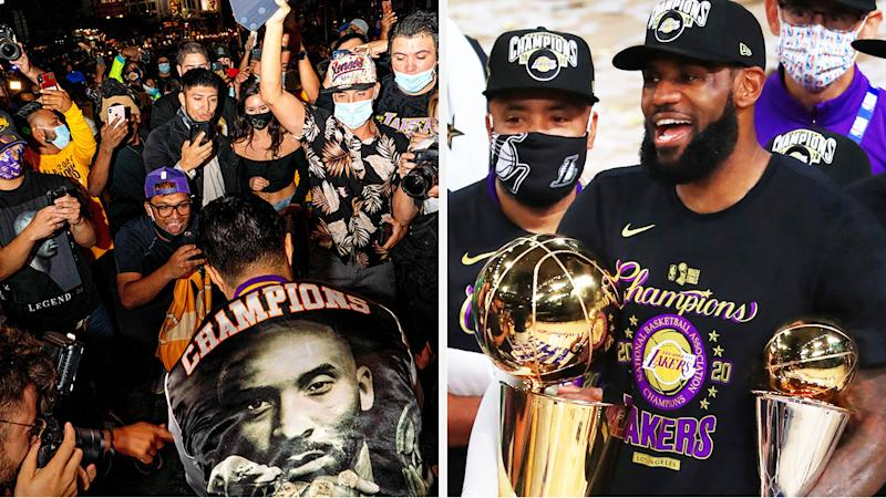 A 50-50 split image shows Lakers fans celebrating on the left, and LeBron James with after winning the NBA Finals for the Lakers on the right.