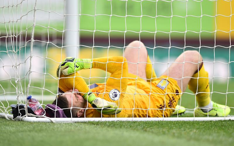 Tom Heaton suffered his problem while falling awkwardly trying to save Chris Wood's strike - Getty Images Europe