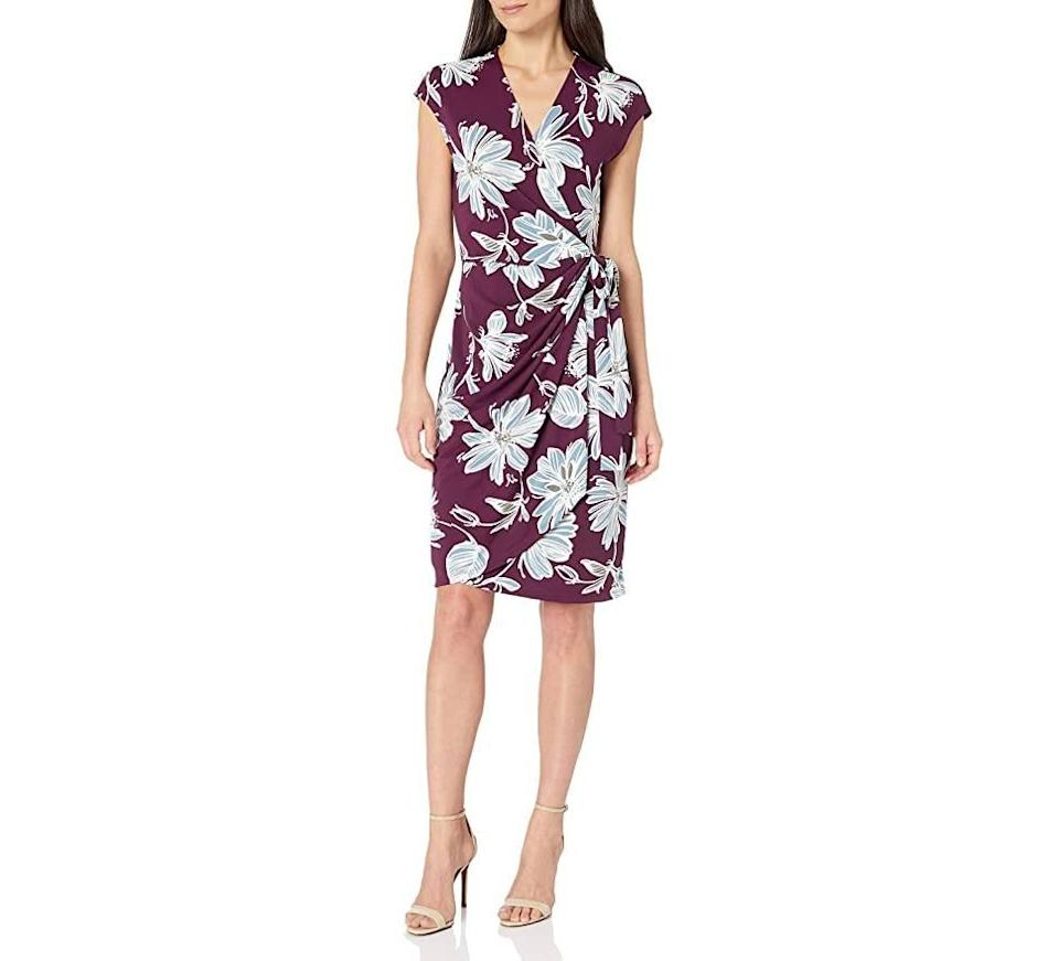 Lark & Ro Women's Classic Cap Sleeve V-Neck Compact Matte Jersey Wrap Dress (Photo: Amazon)