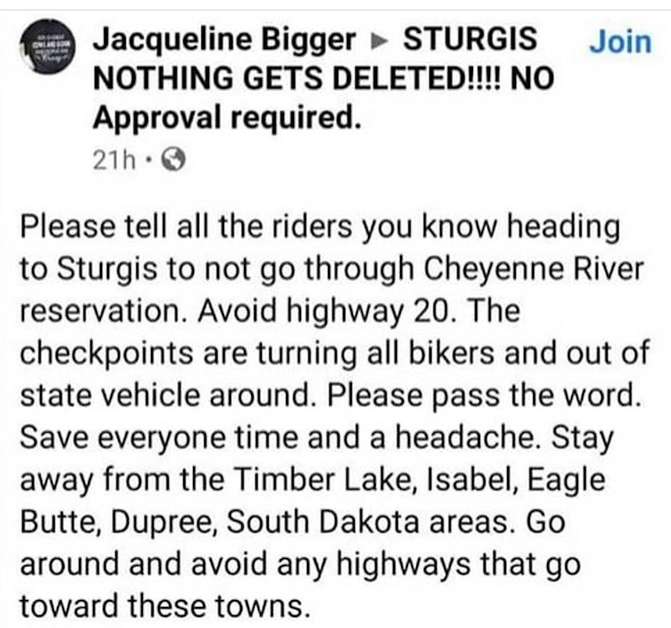 This screenshot of a Facebook posting shows how riders heading to the annual motorcycle rally in Sturgis, South Dakota, are being forced into taking detours around lands controlled by Native Americans, who are trying to keep out the coronavirus.