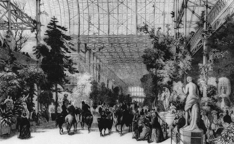 An undated an artist's sketch shows a scene at the Great Exhibition of the Industry of All Nations at the Crystal Palace in Hyde Park, London in 1851. (AP Photo)
