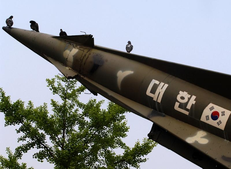 Pigeons sit on a South Korean missile on display at the Korea War Memorial Museum in Seoul