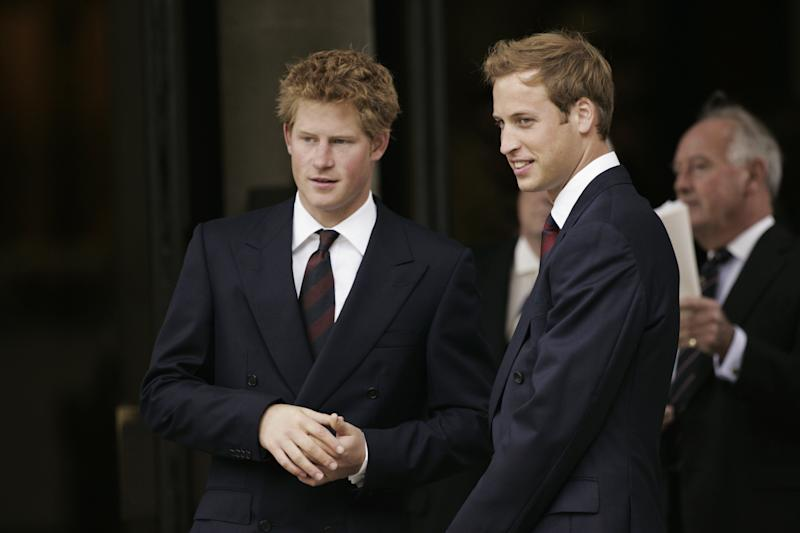 LONDON, ENGLAND - AUGUST 31: Prince Harry and Prince William at the 10th Anniversary Memorial Service for their mother Diana, Princess of Wales at Guards Chapel at Wellington Barracks on August 31, 2007 in London, England. (Photo by Tim Graham Photo Library via Getty Images)