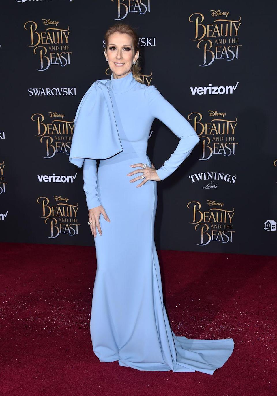<p>In a pale blue Christian Siriano gown at the premiere of <em>Beauty and The Beast</em>. </p>