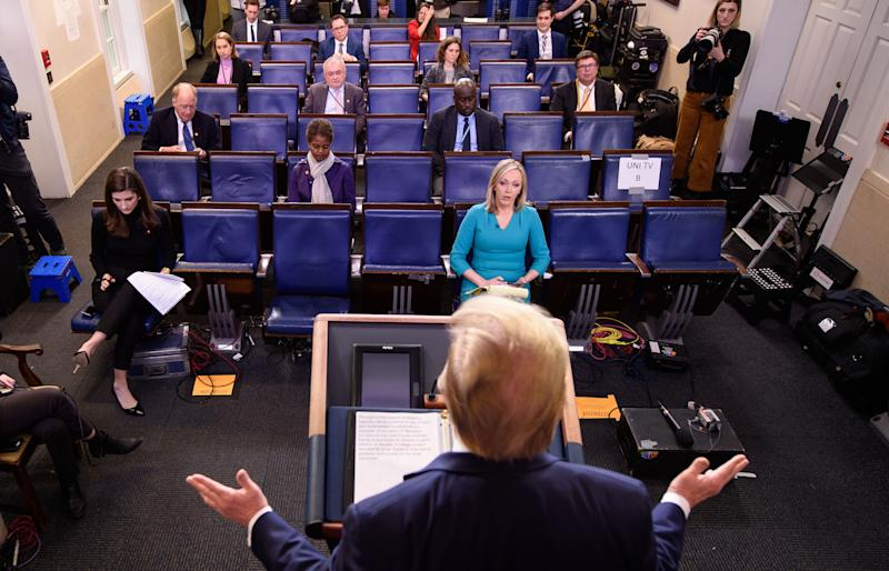 US President Donald Trump speaks during the daily briefing on the novel coronavirus, COVID-19, in the Brady Briefing Room at the White House on March 25, 2020, in Washington, DC. (Photo by MANDEL NGAN / AFP) (Photo by MANDEL NGAN/AFP via Getty Images)