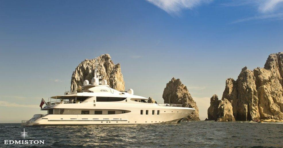 """<p>The 50-meter <a href=""""http://www.edmiston.com/luxury-yachts-for-sale/azteca-ii-1105/"""" target=""""_blank"""">Azteca II</a> sleeps 12, the perfect vessel for a lengthy, leisurely trip — or not-so-leisurely, if you take advantage of the ships' jet ski, Seadoos, and Waverunners.</p>"""