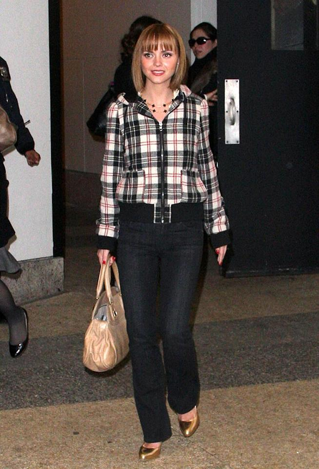"""Christina Ricci keeps warm in a cute checkered coat. James Devaney/<a href=""""http://www.wireimage.com"""" target=""""new"""">WireImage.com</a> - February 27, 2008"""