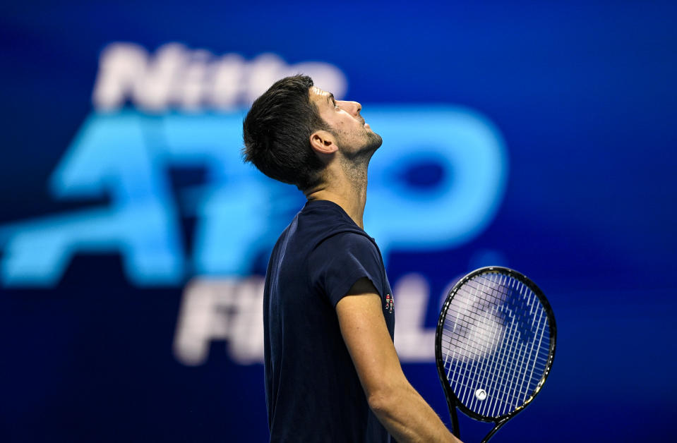 Novak Djokovic practices before the start of of the Nitto ATP World Tour Finals at The O2 Arena on November 14, 2020 in London, England