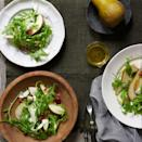 """Thinly sliced and crisped pancetta adds richness to this elegant pear salad dressed with a lemony olive oil and Champagne vinaigrette. <a href=""""https://www.epicurious.com/recipes/food/views/pear-arugula-and-pancetta-salad-235734?mbid=synd_yahoo_rss"""" rel=""""nofollow noopener"""" target=""""_blank"""" data-ylk=""""slk:See recipe."""" class=""""link rapid-noclick-resp"""">See recipe.</a>"""