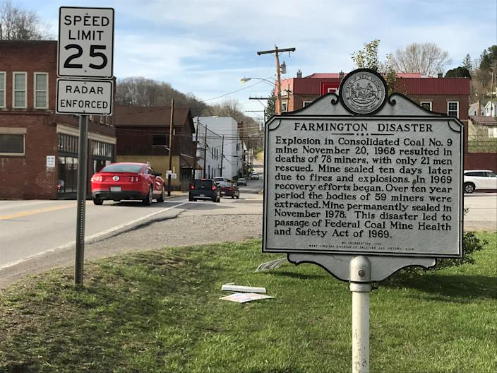 A sign along Main Street in Farmington, W.Va., memorializes the explosion in 1968 that  was one of the worst coal mine disasters in U.S. history.
