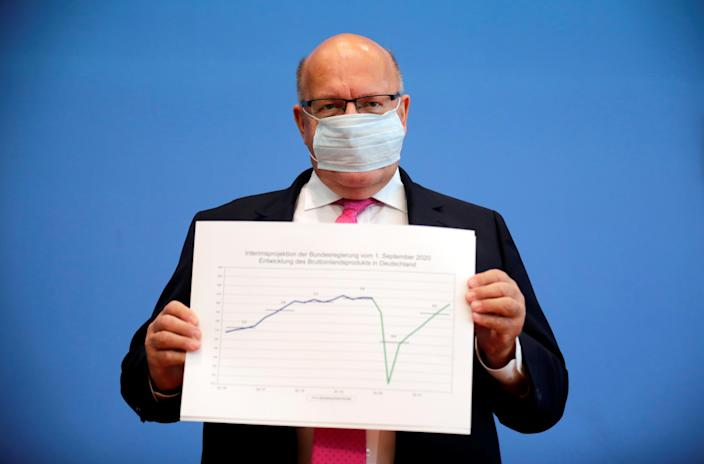 German Economy Minister Peter Altmaier wearing a face mask presents the government's updated economic outlook for 2020 in Berlin, Germany, September 1, 2020. Photo: Reuters/Hannibal Hanschke