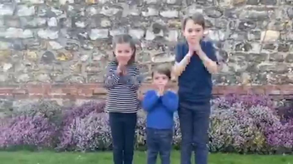 <p>The Cambridge children during lockdown, clapping for carers</p>