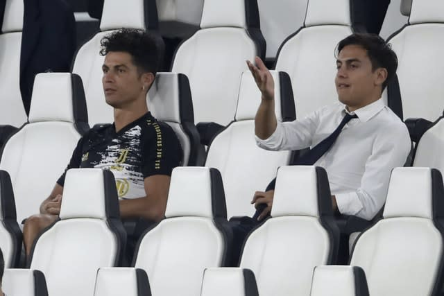 Juventus' Cristiano Ronaldo, left, and Paulo Dybala were rested by boss Maurizio Sarri for the final Serie A match of the season against Roma