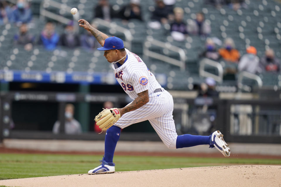 New York Mets starting pitcher Taijuan Walker throws during the first inning of a baseball game against the Washington Nationals at Citi Field, Sunday, April 25, 2021, in New York. (AP Photo/Seth Wenig)