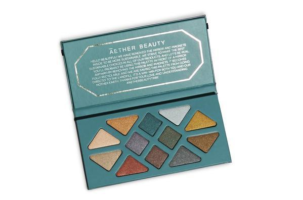 """<h3><strong><a href=""""https://aetherbeautyco.com/"""" rel=""""nofollow noopener"""" target=""""_blank"""" data-ylk=""""slk:Āether Beauty"""" class=""""link rapid-noclick-resp"""">Āether Beauty</a></strong></h3><br>Last year, Āether Beauty created the first-ever zero-waste and <a href=""""https://aetherbeautyco.com/collections/all/products/rose-quartz-crystal-gemstone-palette"""" rel=""""nofollow noopener"""" target=""""_blank"""" data-ylk=""""slk:entirely recyclable eyeshadow palette"""" class=""""link rapid-noclick-resp"""">entirely recyclable eyeshadow palette</a>. After removing the little tin eyeshadow pans, you could chuck the whole thing into the recycling bin and know it was going to the right place. Since then, the brand's founder Tiila Abbitt has launched two more palettes and even a single eyeshadow pan crafted with tin that can be recycled, too.<br><br><strong>Aether</strong> Crystal Grid Gemstone Palette, $, available at <a href=""""https://aetherbeautyco.com/collections/all/products/crystal-grid-gemstone-palette"""" rel=""""nofollow noopener"""" target=""""_blank"""" data-ylk=""""slk:Aether"""" class=""""link rapid-noclick-resp"""">Aether</a>"""