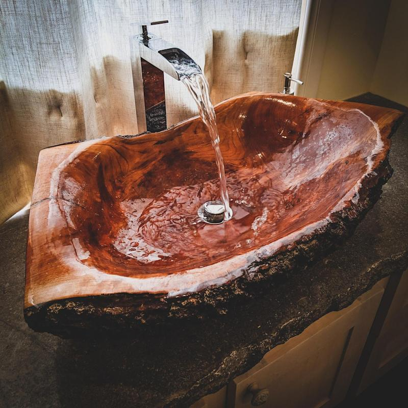 Carved Wooden Log Sink