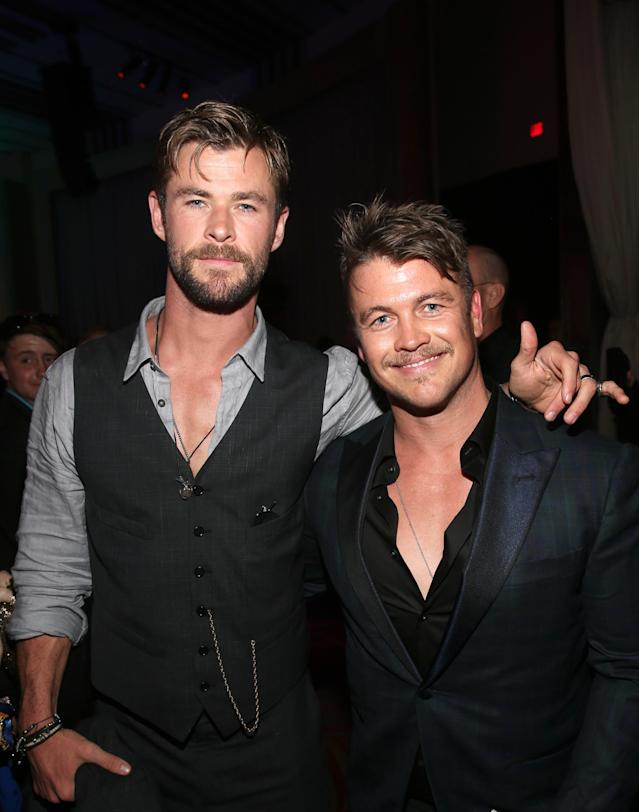 <p>Two Hemsworths are always better than one! Chris, who is Thor, brought his <em>Westworld</em> actor brother Luke. (Photo: Jesse Grant/Getty Images for Disney) </p>