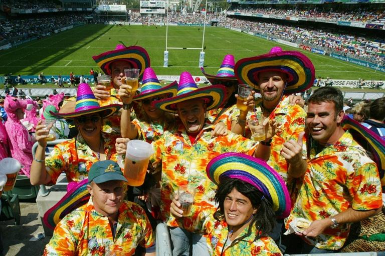 Packed stands with supporters in fancy dress are a hallmark of the Hong Kong Sevens