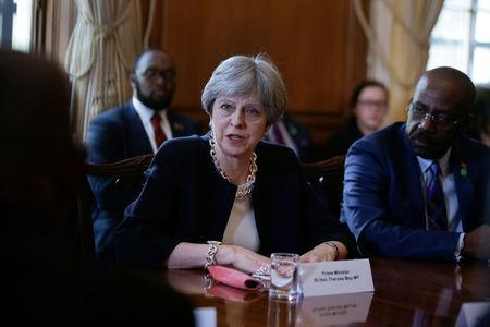 Britain's Prime Minister Theresa May hosts a meeting with leaders and representatives of Caribbean countries, at 10 Downing Street in London April 17, 2018.  Daniel Leal-Olivas/Pool via Reuters