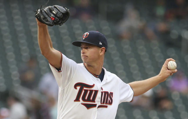 CORRECTS SPELLING TO WHITE SOX NOT WHILE SOX Minnesota Twins pitcher Stephen Gonsalves makes his major league debut as he throws against the Chicago White Sox in the first inning of a baseball game Monday, Aug. 20, 2018, in Minneapolis. It was a makeup game due to an April 15 weather postponed game. (AP Photo/Jim Mone)