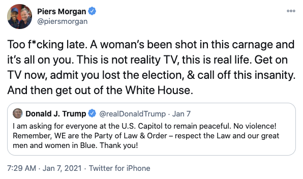 """Piers told Donald it's """"too f***ing late"""" to tell rioters to be """"peaceful"""". Photo: Twitter"""
