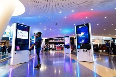 A PeriscapeVR concierge escapes to a virtual reality in Terminal 4 at John F. Kennedy International Airport