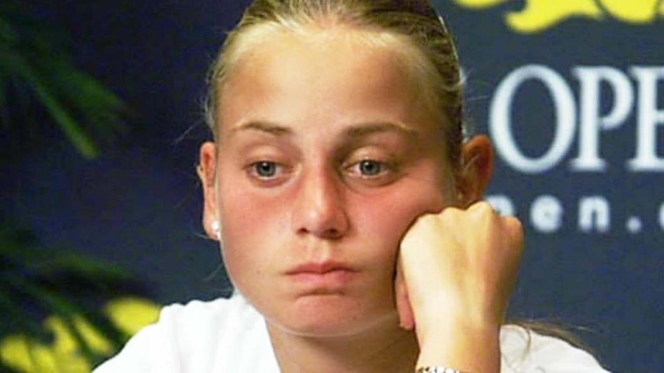 Jelena Dokic (pictured) looking sad during her US Open press conference.