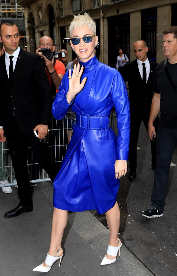 "<p>The ""Chained to the Rhythm"" singer arrived at her Paris hotel Friday, wearing a bold leather dress, to promote her new album. She is one of several big names expected to perform at Ariana Grande's <a rel=""nofollow"" href=""https://www.yahoo.com/celebrity/ariana-grande-visits-fans-injured-manchester-attack-000103238.html"">One Love Manchester concert</a>. (Photo: Best Image/BACKGRID) </p>"