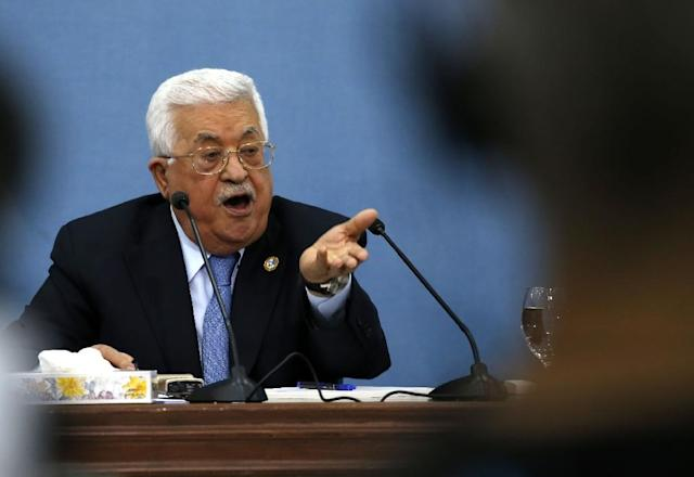 Palestinian president Mahmud Abbas speaks during a meeting with journalists in the occupied West Bank town of Ramallah on June 23, 2019 (AFP Photo/ABBAS MOMANI)