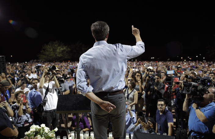 Democratic presidential candidate and former Texas Rep. Beto O'Rourke speaks during a vigil on Sunday in El Paso, Texas. (AP Photo/John Locher)