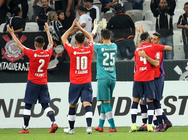 Soccer Football - Brazil's Corinthians v Argentina's Independente - Copa Libertadores - Arena Corinthians Stadium, Sao Paulo, Brazil - May 2, 2018 - Independiente's players react after the end of the match. REUTERS/Paulo Whitaker